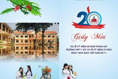 thư mời dự lễ kỉ niệm 20 năm thành lập trường thpt y jút